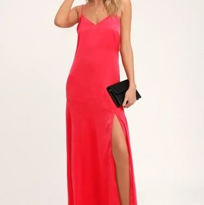 HOT DATE RED SATIN MAXI DRESS